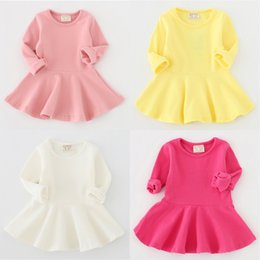 Детские дети одежда 2018 старинные девушки цветка платья дети повседневная твердые хлопок мяч платья принцесса костюм платье малыша Одежда от