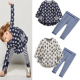 Wholesale Kids Easter Outfits - Kids Girls Easter Bunny Sets Baby Girls Rabbit Print T-shirt + Striped Pants 2pcs Suits 2017 Autumn Infant Princess Cartoon Outfits B658