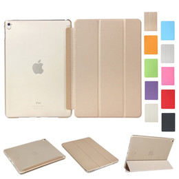 Wholesale Silk China Rose - Silk Skin Smart Cover for iPad Mini 2 3 4 Ultral Slim PU Leather Stand Case 9.7 inch iPad Pro iPad Air 2 Folding Transparent Clear Covers