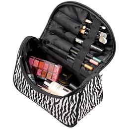 Wholesale Zebra Cosmetic - Wholesale- Women Ladies Zebra-stripe Makeup Bag Patent Leather Waterproof Cosmetic Pouch Travel Handbag Casual Purse