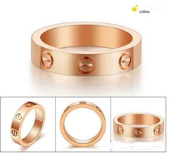 Wholesale Titanium Rings For Men Wholesale - Fashion style Screw print forever love titanium steel Ring for men and women 18K Gold silver Plated