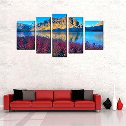 Wholesale Oil Paintings Mountains - 5 Panels Landscape Canvas Painting Beautiful Mountain Lake Scenery Picture Print with Wooden Framed Wall Art For Home Decoration