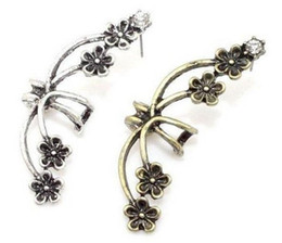 Wholesale earring wraps - Clip Earrings Punk Antique Crystal Bronze Metal Flower Ear Cuff Wrap Clip Earring Gothic Punk Style Flower Floral ear clip Earrings Jewelry