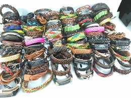 Wholesale Tribal Surfer - 100 pcs  lot mixed styles surfer cuff ethnic tribal retro leather bracelets fashion jewelry