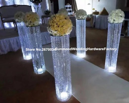 Wholesale Crystal Standing Centerpiece - most popular wedding centerpiece or event crystal walkway pillar flower stand wholesale