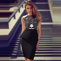 Wholesale Tight Mesh Dress - 2017skirts wholesale in Europe and America foreign trade tight package hip mesh stitching embroidery Ruffle Dress