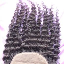 fermeture mongole profonde cheveux bouclés soie Promotion Fermeture de base en soie mongole 3 partie profonde bouclée base de soie fermeture mongol cheveux humains 4x4 soie top fermeture pour femme noire en gros