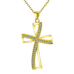 Wholesale Holy Cross Necklaces - Wedding Gift Holy Cross Pendants Necklace Yellow Gold Plated New Arrival Prom Design Chain 18+2.5 inch KZCN066