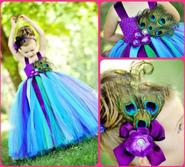 Wholesale Girls Flower Feather Tulle - Princess Peacock Flower Girl Dress Children Catwalk Cute Girl Tutu Costumes Children Ball Gown Pageant Dress Kid Formal Occasion Wear
