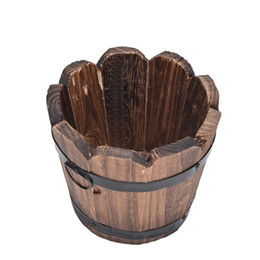 Wholesale Wooden Flower Boxes Wholesale - 10x12x9cm Vintage Wooden Succulents Box 2 Styles Flower Pots Planters
