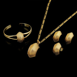 Wholesale Wedding Rings 14k Yellow Gold - NEW Ethiopian Jewelry Sets 14K Real yellow solid Gold GF Fashion African Boat Semi-circle chain pendant bangle earrings rings