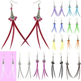 Wholesale pink blue chandelier lighting - Slim Feather Earrings 12 Colors wholesale lots Cute Bead Elegant Light Dangle Eardrop New (White Black Red Deep Pink Gray Blue Brown)(JF146)
