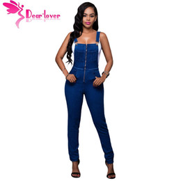 Wholesale Overalls For Ladies - Wholesale- Dear Lover Fashion suspender trousers Jumpsuit Jeans for Women Trendy Denim Wash Overall Casual Skinny Ladies Long Pants LC64173