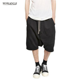 Wholesale Men S Drop Crotch Pants - Wholesale- MORUANCLE Fashion Hi Street Mens Hip Hop Jogger Shorts Drawstring Streetwear Male Drop Crotch Harem Short Pants Brand Designer
