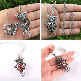 Wholesale Hollow Owl Necklace - Wholesale-Retro Owl Necklace Sliver Hollow Necklace Sponge Aromatherapy Diffuser Necklace Women Pendants