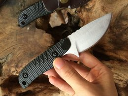 Wholesale Browning Knife Drop Shipping - Drop Shipping New Small Survival Hunting Knife 7Cr17 58HRC Satin Blade Outdoor Camping Hiking Fishing Knives with Leather Sheath