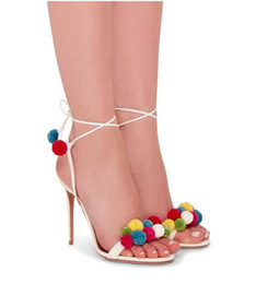 Wholesale Drop Ship High Heels - Wholesale Drop shipping red canvas &Hairball Fashion Aquazzura gladiator high heeled leather lace up cashmere women sandals