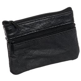 Wholesale Change Purse Key - 2017 Classic Genuine Leather Mini Wallet Coin Purse Change Bag Zipper Key Ring Women Men Purses Wallets Free shipping