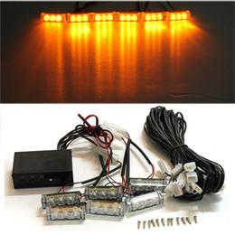 Camion led barre lumineuse ambre en Ligne-12V 6 LED moto flash de voiture bAR avertissement stroboscopique pour les pompiers de camion de police clignotant feux de grille orange