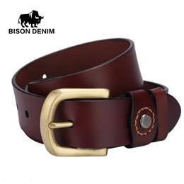 Wholesale Rock 34 - Wholesale- BISON DENIM top Genuine Leather belt for men gold Pin Buckle punk rock mens leather belts for girls ceinture cuir homme W71020