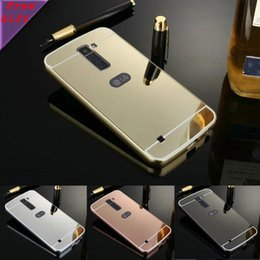 Wholesale Luxury Dual Sim - Mirror case For LG K10 Dual SIM F670 K410 K420N K430DS K430DSF Luxury Gold Plating Aluminum Metal Frame + Mirror Acrylic Back Cover