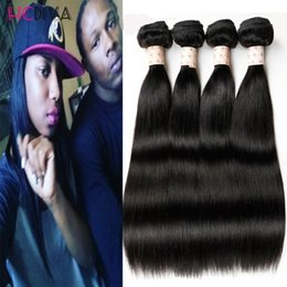 Wholesale Wholesale Weaves Extensions Malaysia - Wholesale-Malaysian Virgin Human Hair Weaving Straight 4 Bundles Lot Unprocessed Virgin Hair Extensions Malaysia Hair Bundle Straight wavy