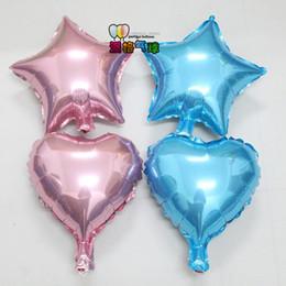 2019 forma de corazón globos de aluminio Venta al por mayor 100 unids / lote 10 pulgadas corazón y forma de estrella globos de aluminio fiesta de cumpleaños decoración de la boda fuentes del partido rebajas forma de corazón globos de aluminio