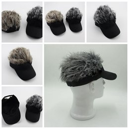 Wholesale Caps Fake Hair - Hair Visor Hat Golf Wig Cap Fake Adjustable Gift Novelty Party Custome Funny Hat 100 pcs YYA463