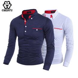 Wholesale El Clothing - Wholesale- 2016 Black White Dot Casual Cotton T Shirt New Fashion Brand Men T Shirt Autumn Long Sleeve Men's Clothes M-XXXL