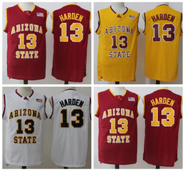 Wholesale Arizona States - NCAA Arizona State #13 James Harden College Basketball Jersey 13 University Yellow Red White Best Quality Stitched James Harden Jersey
