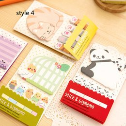 Wholesale Sticky Memo Cat - Animal Cat Panda Cute Kawaii Sticky Notes Post It Memo Pad School Supplies Planner Stickers Paper Bookmarks Korean Stationery. 20PCS\