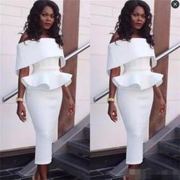 2019 vestido de chá preto arruinado Sul-africano Fora Do Ombro Vestidos de Baile Comprimento do Chá Peplum Ruffles Sereia Vestidos de Noite Mangas Voltar Zipper Black Girls Party Dress vestido de chá preto arruinado barato