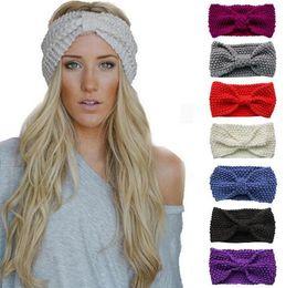 Wholesale womens knitted headbands - Womens Knitted Headband Crochet Winter Warmer Hairband Ladies Hair Band Headwrap Warmer Headband Hair Accessories KKA2443