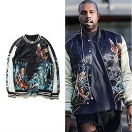 Wholesale Satin Jackets Men - Wholesale- Eagle&Tiger Printing Designer Bomber Jackets Kpop Rockstar Stage Uniform Mens 2016 New Satin Fabrics Stand Collar Varsity Jacket