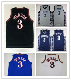 Wholesale Iverson Jerseys - High Quality Free Shipping Retro #3 Allen Iverson Sport Jersey Throwback Jerseys Embroidery Logo Mesh Black Shirt