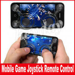 "Iphone joystick analógico on-line-Joystick móvel dual analógico joysticks inteligente clipe para iPhone Samsung samrtphone jogos iPad pod Touch para 4,7"" Screen"