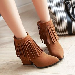 Wholesale Ladies Boots Fringe - High quality 2017 spring and autumn women boots Tassel Pointed Toe Side Zipper Ankle Boots Lady Fringe Casual Short Boots Size;35 -42