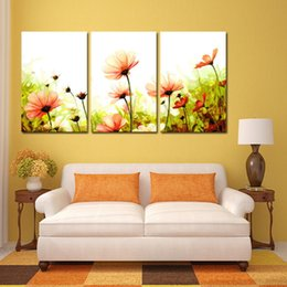 Wholesale Modern Flower Paintings Canvas - Modern Wall Painting Home Decorative Art Picture Paint Canvas Printing Color Painting Digital Oil Abstract Flowers Printed Flower