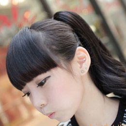 Wholesale Hair Bangs Pieces - Women Fringe Hair Bang with Clip Black Brown Blonde Synthetic Hairpieces Hair Piece Fake Bangs Hair Extension