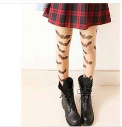 Wholesale Japanese Lolita - Wholesale- Gothic lolita tights HARAJUKU style japanese pantyhose Vintage sexy halloween thin pantyhose bat tattoo tights for girls