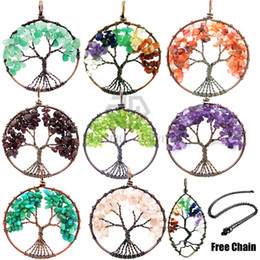 Wholesale Chip Necklaces - (Free Chain) Chakra Stone Chips Beads Tumbled Stone Wire Wrap Tree Of Life Healing Chakra Pendant