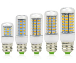 Wholesale E14 48 Led - LED Lamp Warm White E27 LED Bulbs 7W 9W 12W 15W 18W 3000 Lumen Cree SMD 5730 With Cover 24 30 36 48 56 leds GU10 E14 B22 G9 Corn Led lights