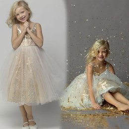 Wholesale Child Models Girls - New Arrival Sequins Flower Girl Dresses For Wedding Scoop Tulle Pleats Spaghetti Straps A-Line Child First Communion Dress