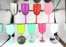 Wholesale Wedding Gift Goblets - Double Stainless Steel Red Wine Glass With lids 10OZ Cocktail Glass Goblet 9 Colors Bar Car Mugs