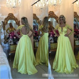 Wholesale Water Melo - 2017 Hot Long Sleeves Satin A-Line Barbara Melo Prom Dresses with Scoop beaded applique detail and Keyhole Back Formal Evening Party Gowns