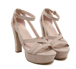 Wholesale Size 34 Platform - Women fashion micro suede cross strap platform shoes beige high heel gladiator sandals size 34 to 39