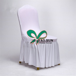 Wholesale Spandex Ruffle Chair Covers - 50pcs Sale Good Looking Bottom Ruffled Lycra Spandex Chair Cover \ Cheap Wedding Chair Covers