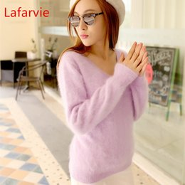 Wholesale Ladies Cashmere Pullover - Wholesale- Lafarvie SWETER 100% Mink Cashmere Sweater Women V-Neck Sweaters & Pullovers Pure Mink Cashmere Knitted Pullover Ladies Sweater