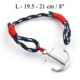Wholesale Threaded Charms - Tom Hope bracelet 4 size red thread chains bracelet stainless steel anchor charms bracelet with box and tag TH02