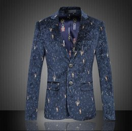 Wholesale Casual Dress Fly - P017 New Arrive Blazer Men's Fashion Dress Suits High Quality Clothes Hot Sale Casual Jacket men suit slim fit Single-breasted printing Suit